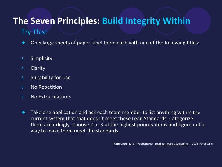 The Seven Principles:  Build Integrity Within <ul><li>Try This!  </li></ul><ul><li>On 5 large sheets of paper label them e...
