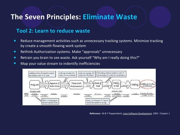 The Seven Principles:  Eliminate Waste   <ul><li>Tool 2: Learn to reduce waste </li></ul><ul><li>Reduce management activit...