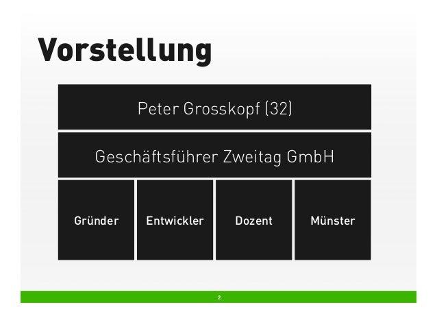 Vorstellung Peter Grosskopf (32) Geschäftsführer Zweitag GmbH  Gründer  Entwickler  Dozent  2  Münster