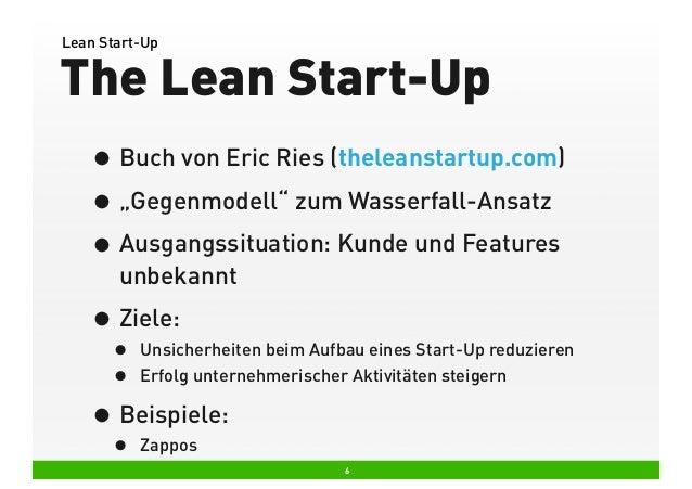 "Lean Start-Up  The Lean Start-Up • Buch von Eric Ries (theleanstartup.com) • ""Gegenmodell"" zum Wasserfall-Ansatz • Ausgang..."