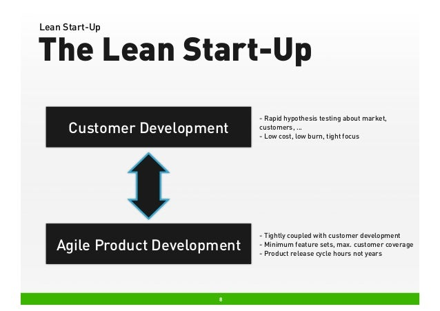 Lean Start-Up  The Lean Start-Up Customer Development  Agile Product Development  8  - Rapid hypothesis testing about mark...