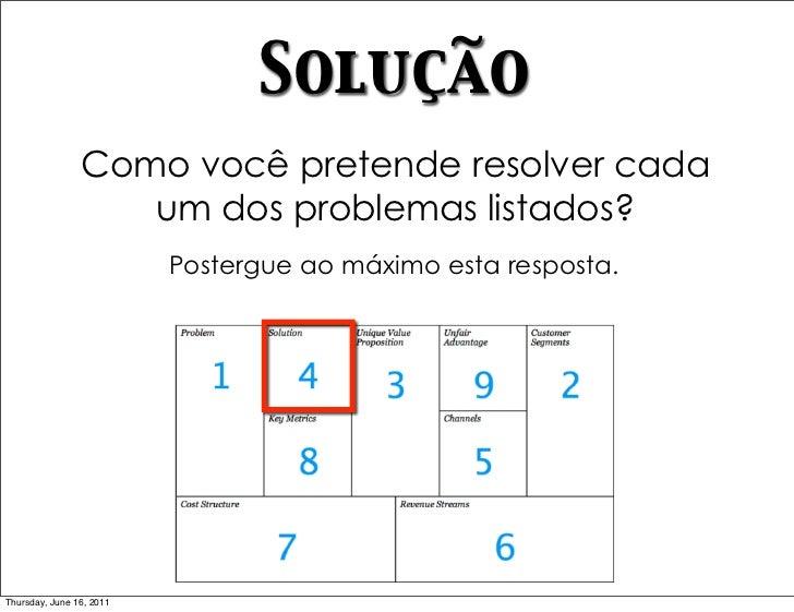 Solução                Como você pretende resolver cada                   um dos problemas listados?                      ...