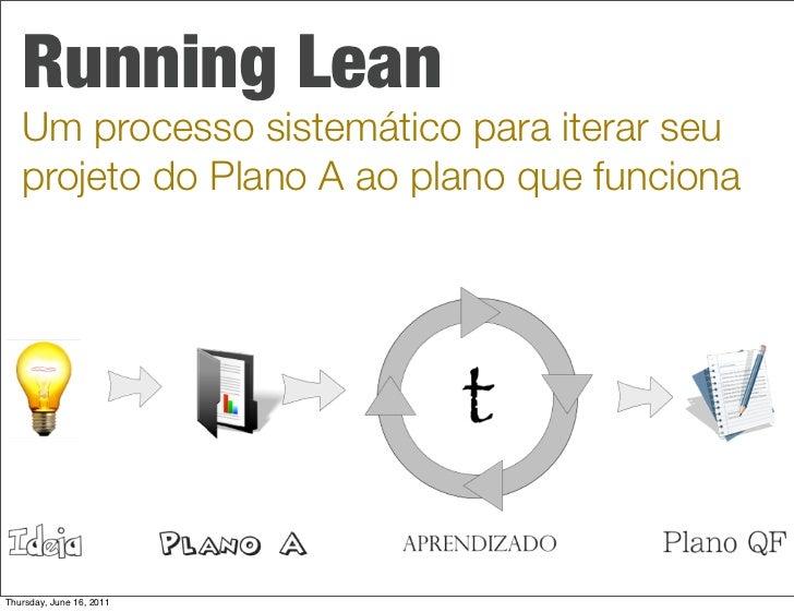 Running Lean   Um processo sistemático para iterar seu   projeto do Plano A ao plano que funcionaThursday, June 16, 2011