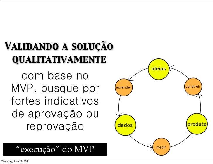 Validando a solução   qualitativamente         com base no       MVP, busque por       fortes indicativos       de aprovaç...