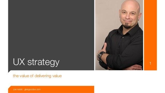 UX strategy                     1the value of delivering valuejoe natoli | givegoodux.com