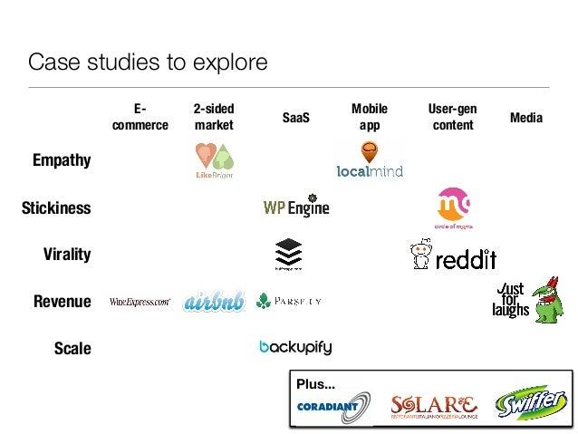 Case studies to explore                 E-      2-sided               Mobile   User-gen                                   ...