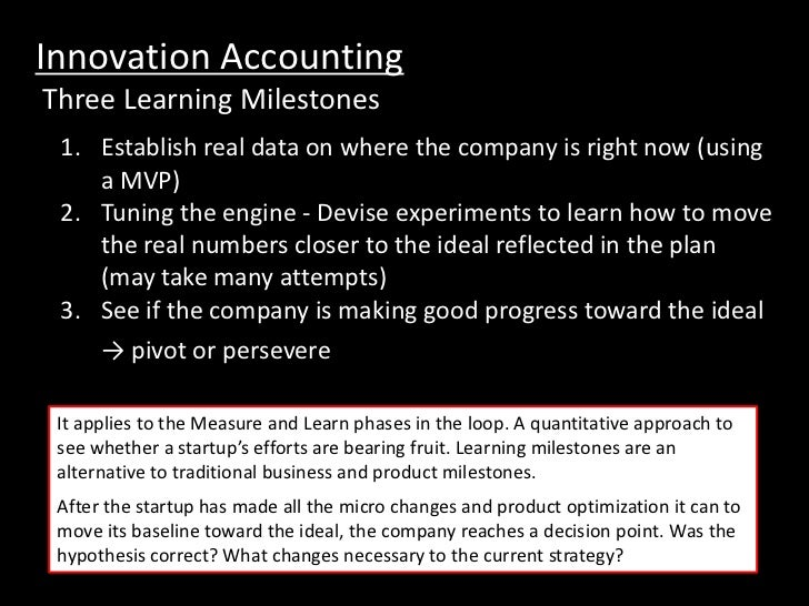 Innovation AccountingThree Learning Milestones 1. Establish real data on where the company is right now (using    a MVP) 2...