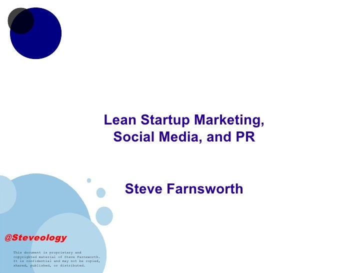 Lean Startup Marketing,                                              Social Media, and PR                                 ...