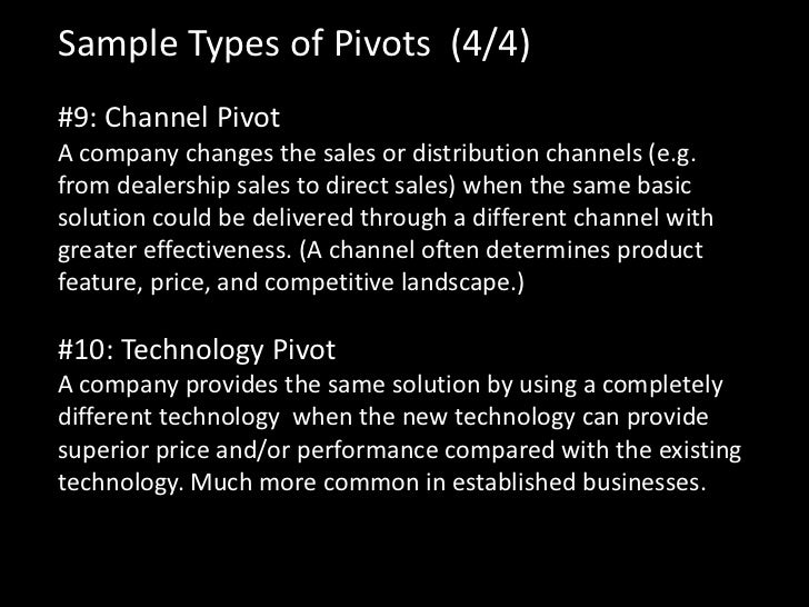 Sample Types of Pivots (4/4)#9: Channel PivotA company changes the sales or distribution channels (e.g.from dealership sal...