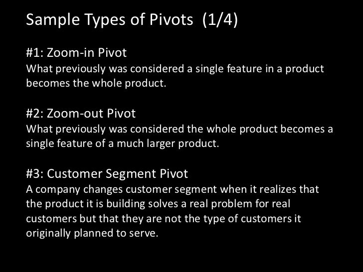 Sample Types of Pivots (1/4)#1: Zoom-in PivotWhat previously was considered a single feature in a productbecomes the whole...