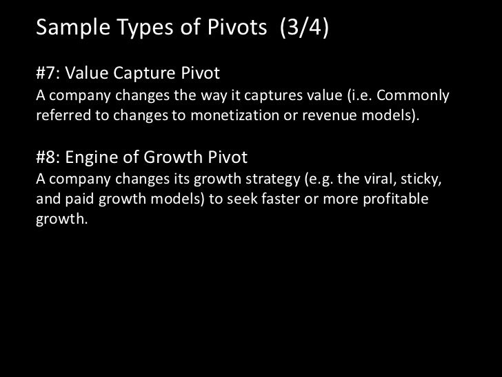 Sample Types of Pivots (3/4)#7: Value Capture PivotA company changes the way it captures value (i.e. Commonlyreferred to c...
