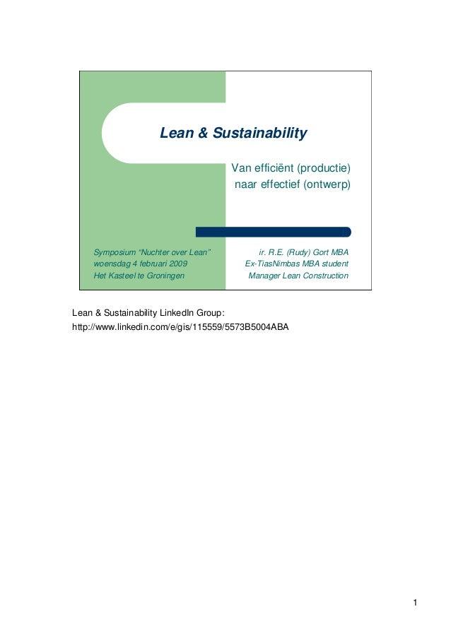 Lean & Sustainability                                        Van efficiënt (productie)                                    ...