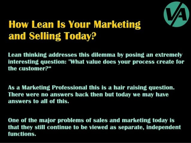 Lean Thinking in Sales & Marketing Process