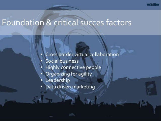 Foundation & critical succes factors • Cross border virtual collaboration • Social business • Highly connective people • O...