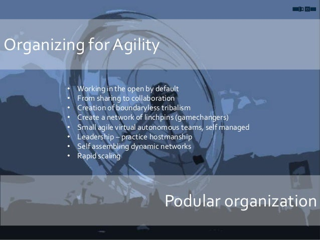 Organizing for Agility Podular organization • Working in the open by default • From sharing to collaboration • Creation of...