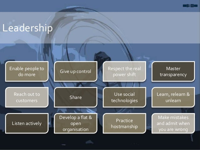 Leadership Enable people to do more Give up control Respect the real power shift Master transparency Reach out to customer...