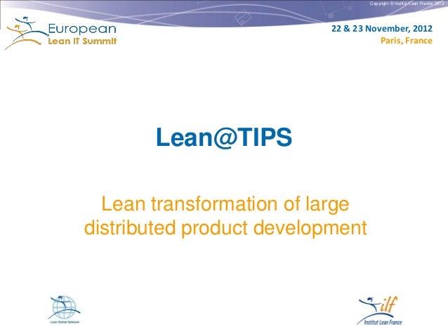 Copyright © Institut Lean France 2012                           22 & 23 November, 2012                                    ...