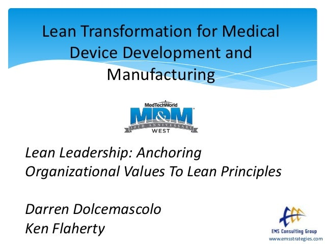 www.emsstrategies.com Lean Transformation for Medical Device Development and Manufacturing Lean Leadership: Anchoring Orga...