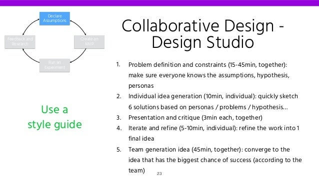 1. Problem definition and constraints (15-45min, together): make sure everyone knows the assumptions, hypothesis, personas...