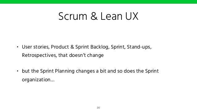 Scrum & Lean UX Test #1 Sketching / Ideations Iteration planning meeting Usability / value testing 36 Iteration #1 Iterati...