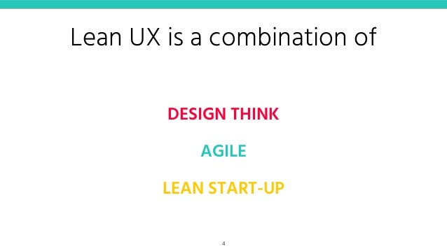 Lean UX is a combination of DESIGN THINK AGILE LEAN START-UP 4