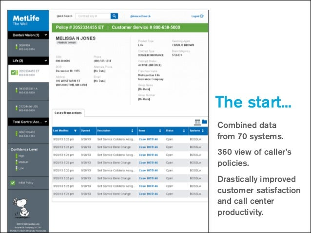 The start... Combined data  from 70 systems. 360 view of caller's policies. Drastically improved customer satisfaction an...