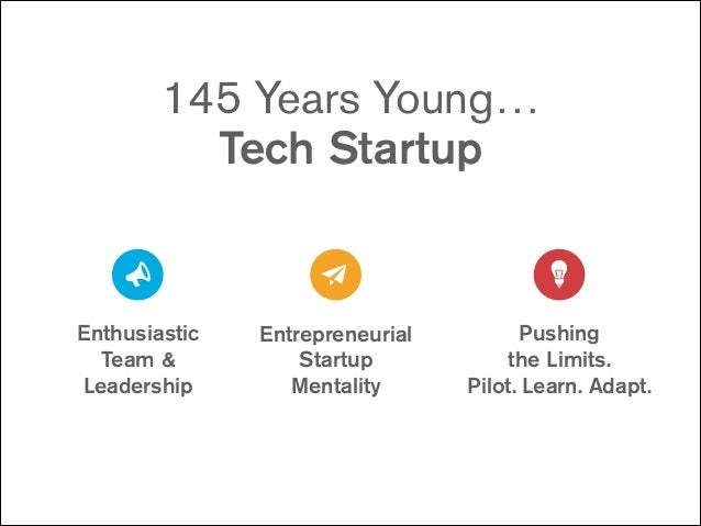 145 Years Young… Tech Startup  Enthusiastic  Team &  Leadership  Entrepreneurial Startup Mentality  Pushing  the Limit...