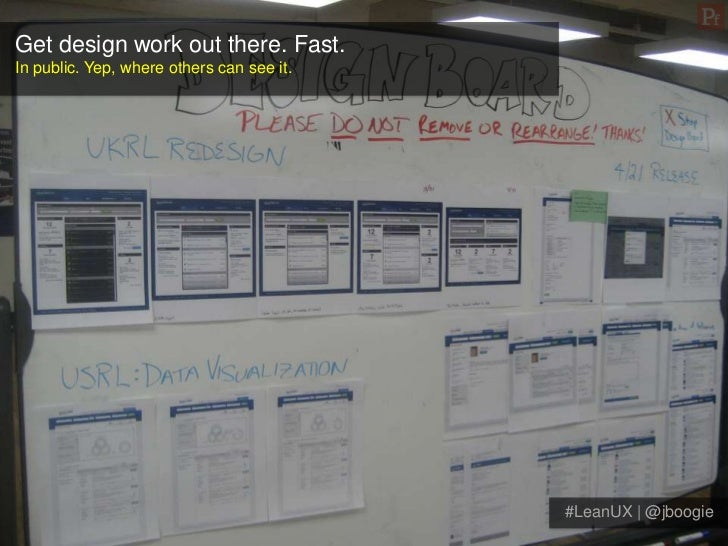 Get design work out there. Fast.In public. Yep, where others can see it.                                           #LeanUX...