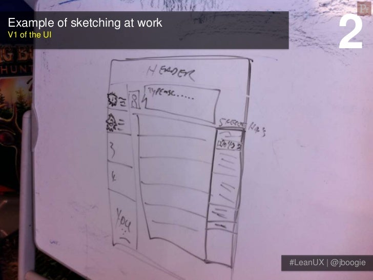 Example of sketching at workV1 of the UI                                          2                               #LeanUX ...