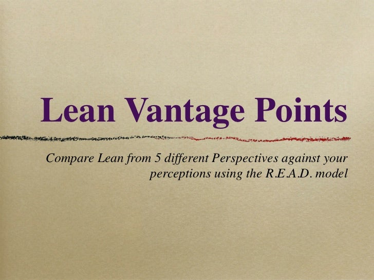 Lean Vantage PointsCompare Lean from 5 different Perspectives against your                 perceptions using the R.E.A.D. ...