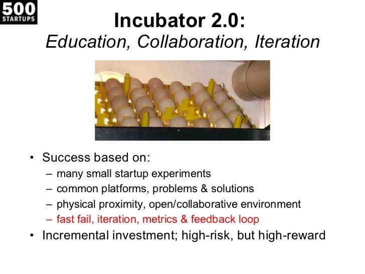 Incubator 2.0:  Education, Collaboration, Iteration <ul><li>Success based on: </li></ul><ul><ul><li>many small startup exp...