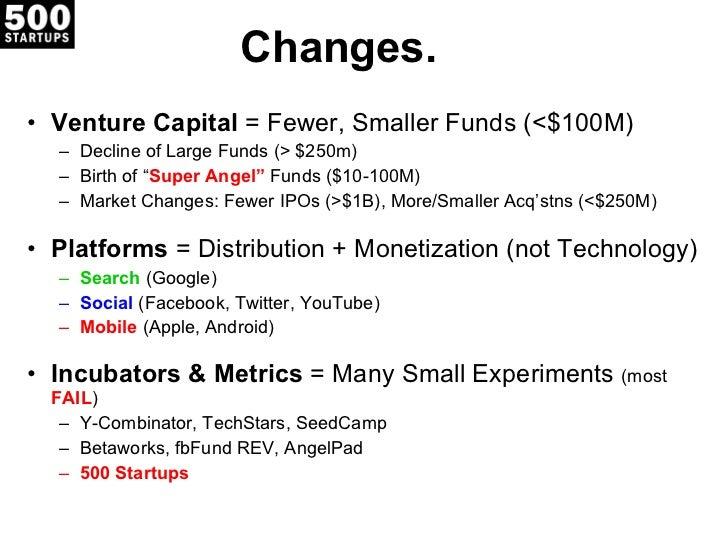Changes. <ul><li>Venture Capital  = Fewer, Smaller Funds (<$100M) </li></ul><ul><ul><li>Decline of Large Funds (> $250m) <...