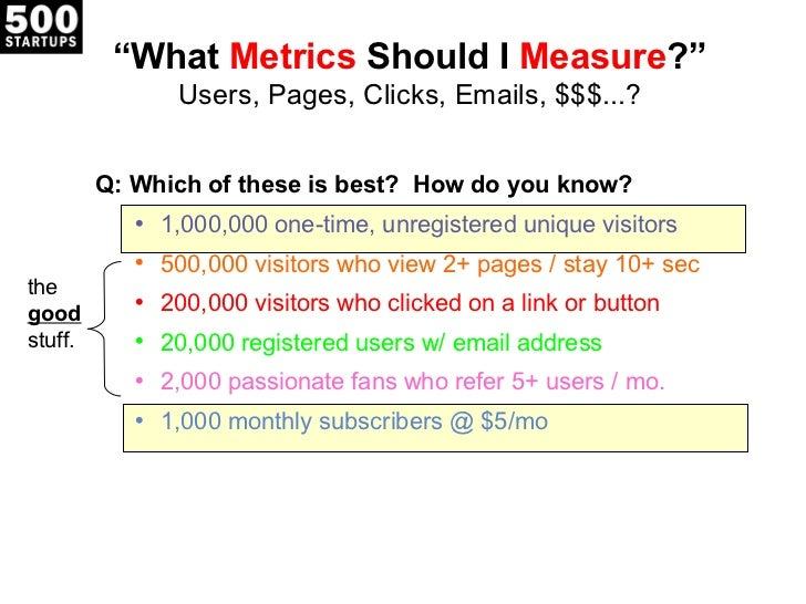""""""" What  Metrics  Should I  Measure ?"""" Users, Pages, Clicks, Emails, $$$...? <ul><li>Q: Which of these is best?  How do you..."""