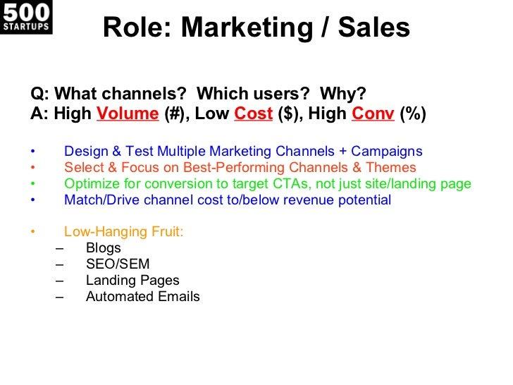 Role: Marketing / Sales <ul><li>Q: What channels?  Which users?  Why? </li></ul><ul><li>A: High  Volume   (#), Low  Cost  ...
