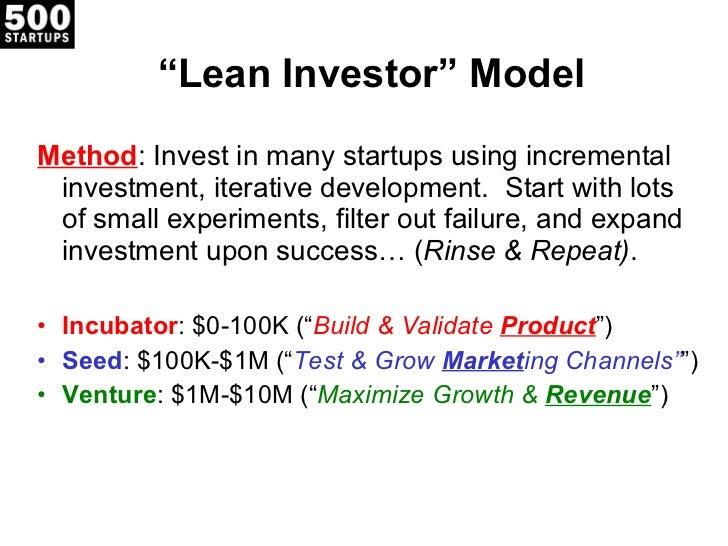 """ Lean Investor"" Model <ul><li>Method : Invest in many startups using incremental investment, iterative development.  Star..."