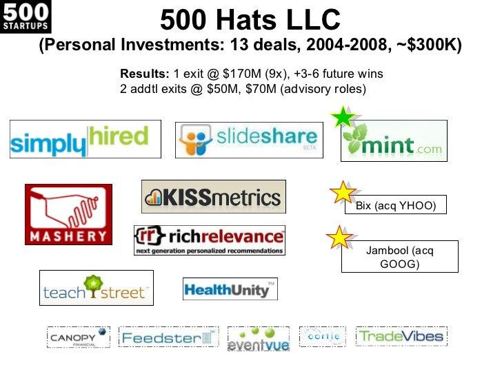 500 Hats LLC (Personal Investments: 13 deals, 2004-2008, ~$300K) Results:  1 exit @ $170M (9x), +3-6 future wins 2 addtl e...