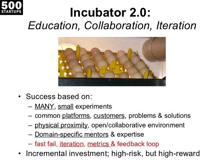 Incubator 2.0:  Education, Collaboration, Iteration <ul><li>Success based on: </li></ul><ul><ul><li>MANY ,  small  experim...