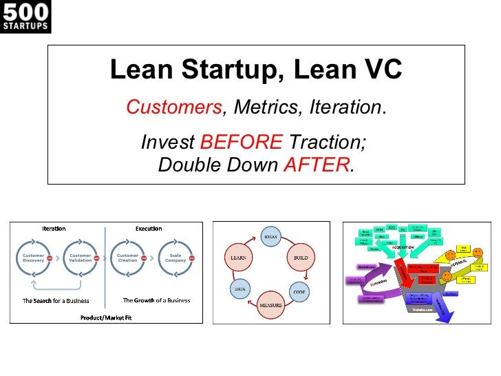 Lean Startup, Lean VC Customers , Metrics, Iteration. Invest  BEFORE  Traction;  Double Down  AFTER .