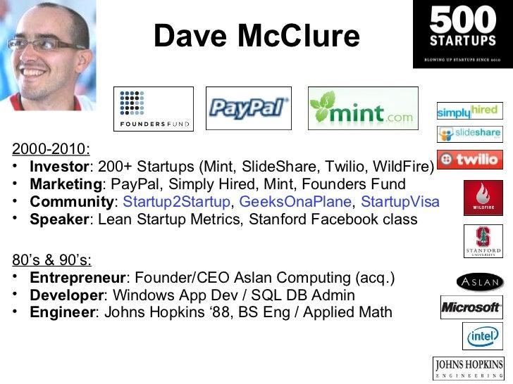 Dave McClure <ul><ul><li>2000-2010: </li></ul></ul><ul><ul><li>Investor : 200+ Startups (Mint, SlideShare, Twilio, WildFir...