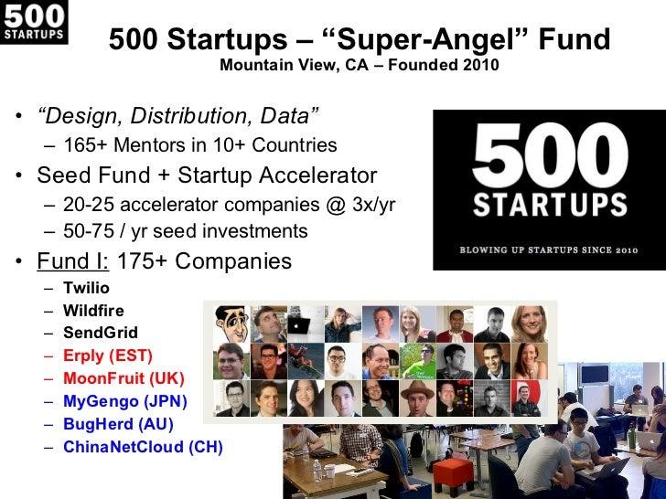 "500 Startups –  ""Super-Angel"" Fund Mountain View, CA – Founded 2010 <ul><li>"" Design, Distribution, Data"" </li></ul><ul><u..."