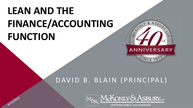 LEAN AND THEFINANCE/ACCOUNTINGFUNCTIONDAVID B. BLAIN (PRINCIPAL)