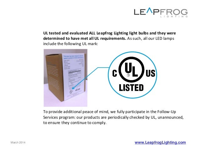 led lamps and ul certification