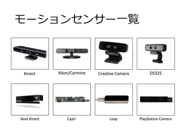 モーションセンサー一覧 Kinect Xtion/Carmine Creative Camera DS325 PlayStation CameraLeapCapriNext Kinect