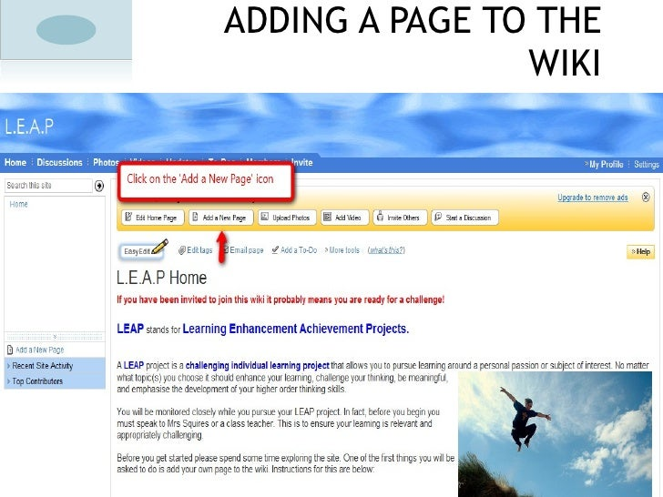 ADDING A PAGE TO THE WIKI