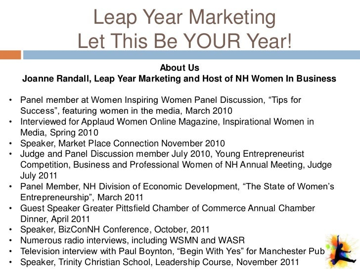 Leap Year Marketing                Let This Be YOUR Year!                                 About Us   Joanne Randall, Leap ...
