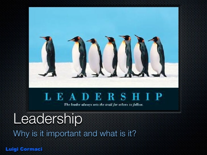 Leadership   Why is it important and what is it? Luigi Cormaci