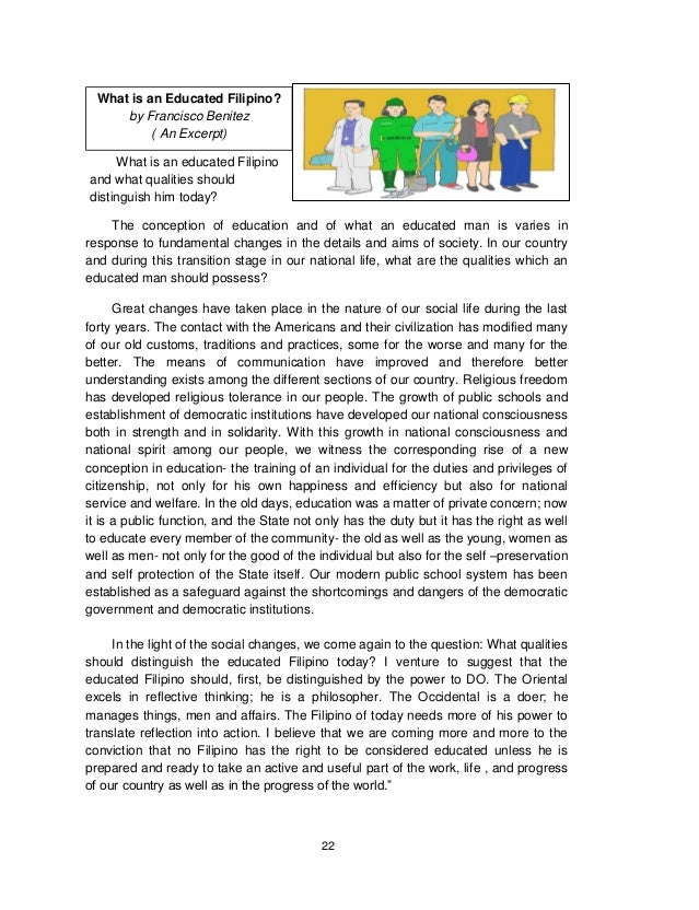 What is an educated filipino by francisco benitez essay