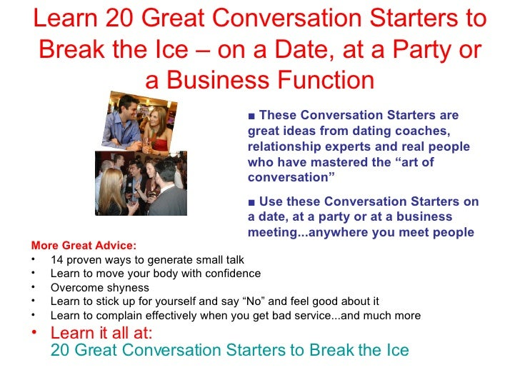 Good conversation starters for dating