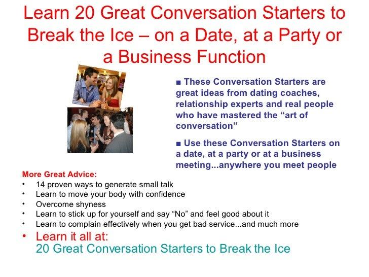 Conversation starters dating