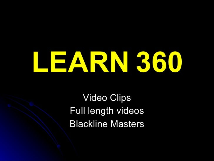 LEARN 360 Video Clips Full length videos Blackline Masters